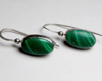 Vintage Sterling Silver Southwestern Style MF Signed Malachite Gemstone Pierced Dangle Earrings