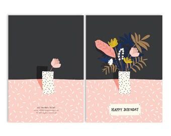 A6 - HAPPY BIRTHDAY - flower card