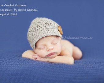 Newsboy Hat Crochet Pattern in Newborn, Baby and Toddler Sizes No.206 Digital Download English