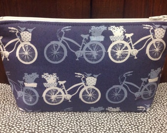 Blue Bicycle Zipper Pouch ~ Cosmetics Bag ~ Stand Up Pouch ~ Essentials/Accessories Pouch