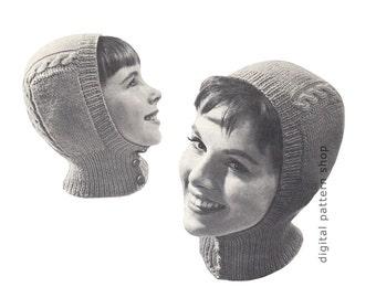 Hat Knitting Pattern Vintage Helmet Pattern Knit Balaclava Winter Ski Hat Pattern Button Front Womens & Childrens Instant Download PDF  K85
