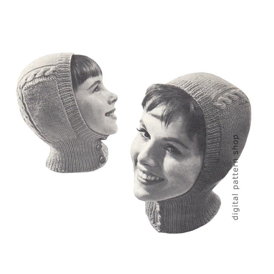 Hat Knitting Pattern Vintage Helmet Pattern Knit Balaclava