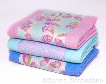 Baby Burp Cloths - Pink and Purple Butterflies Burp Cloth Set of 3 - READY TO SHIP