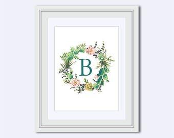 Monogram B - cactus monogram - cactus wreath print - Monogram printable - Wedding printable - Monogram Wall Art - diy printable
