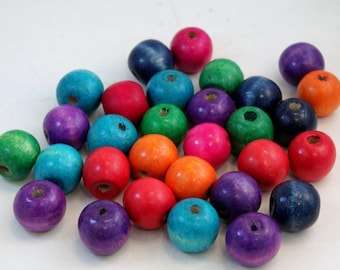 18mm Round Multi Colored Dyed Wood Beads for Jewelry Making, Purple, Green, Pink, Orange, Red, Turquoise, Navy Mix 2
