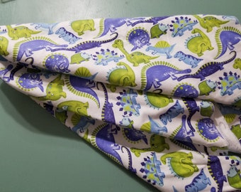 Dinosaur Flannel Swaddle Receiving  Blanket / New Baby Boy Shower Gift / Dino Nursery / Prehistoric