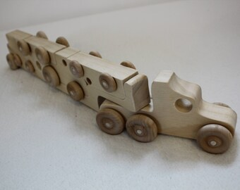 Wooden Toy Truck Puzzle, Wooden Truck Car Set Birthday Gift,  Toddler Wooden Puzzle Truck