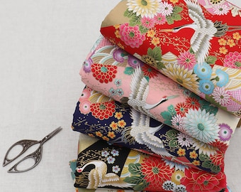 Japanese Cotton Fabric, Cranes Dancing in the Flower Floral Cotton Fabric for Crafting, Quilting and Sewing Etc, Half Yard