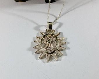 Old pendant silver of floral handmade rar SK1207
