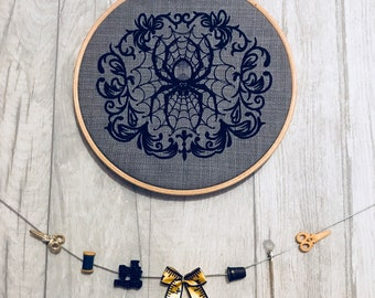Creepy Gothic Spider - Hooped Machine Embroidered Wall Hanging