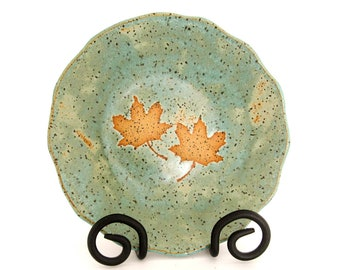 Trinket Dish - Ceramic Bowl - Maple Leaves -  Decorative Bowl - Serving Bowl - Handmade Stoneware Pottery