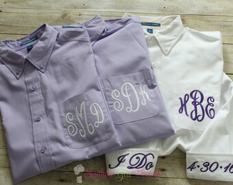 Bride Shirt, Monogrammed Wedding Day Shirt, Bride's Button Down Shirt, Wedding Day Bride Shirt, Wedding Day Getting Ready Shirt