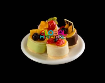 Dollhouse Miniatures White Plastic Round Dish with Set of Colorful Mixed Fruit Tart - 1/12 Scale