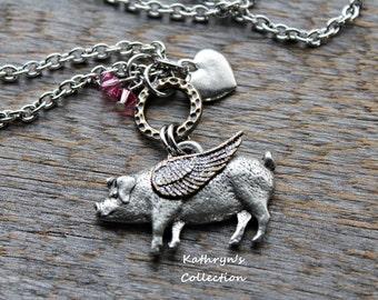 Pig Memorial Necklace, Pig Angel, Pig Mom, Pet Pig, Pet Memorial Jewelry, Read Full Listing Details Prior To Ordering
