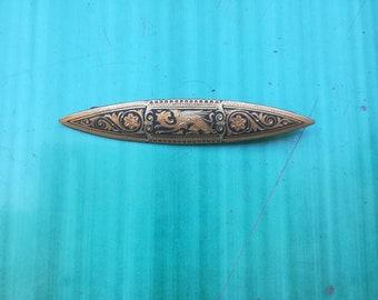 GRIFFIN BROOCH Gold Tone Metal Black INLAY Vintage 30 Brooch Art Deco Brooch Unisex Jacket Brooch Pin