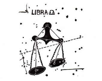 Libra Constellation Linocut in Black and White - Constellations of the Zodiac Lino Block Print Collection, Star Map, Libra the Scales