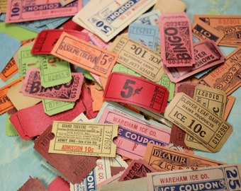 Bunch of 10 Vintage Colorful Tickets