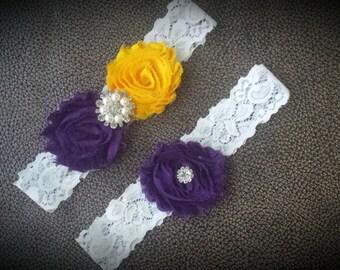 Garter Set - wedding garter set - purple garter