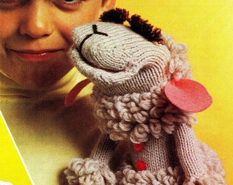 SALE**** Knitting/Crochet Pattern - Lamb Chop Puppet made famous by Shari Lewis - Knit and Crochet designs