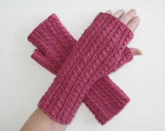 Rose Pink Cashmere Blend Fingerless Gloves / Cable Pink Texting Gloves