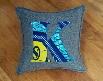 African Print, Alphabet Cushion, Letter Cushion, Personalised Cushion, Decorative Cushion, Initial Cushion - K