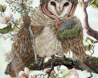 Owl Decor - Owl Art - Barn Owl - Owl Wall Art - Cottage Decor - Woodland Cottage - Cottage Art - Farmhouse Decor - Country Cottage Decor