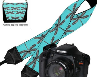 Camera Neck Strap Turquoise Dragonfly Dslr Camera Strap SLR Padded Camera Strap Nikon Canon etc black teal blue RTS