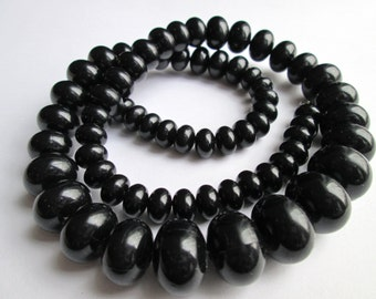 Vintage Black Plastic Puffed Saucer Bead Rondelle Graduated Single Strand Necklace Opera Length