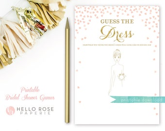Guess the Dress Bridal Shower Game . Printable Instant Download . Pink and Gold . Gold Glitter . Digital Download . Bridal Shower Games