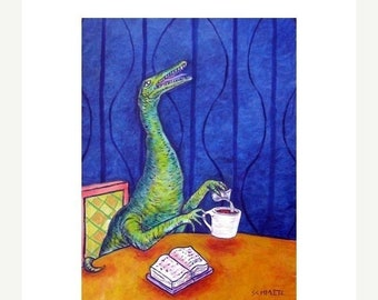 25% off Procompsognathus at the coffee Shop Dinosaur Art Print