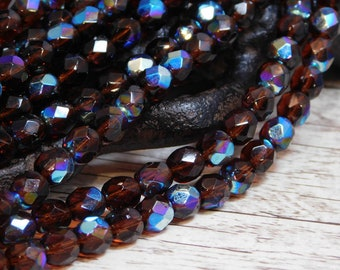 6mm - Fire Polished Beads - Czech Glass Beads - 6mm Beads - Round Beads - Root Beer Brown - (B217)