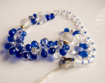 Vintage Czech Cobalt, Frosted, Clear and Teardrop Molded Glass Beads from Broken Necklace