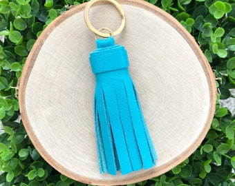Dark Teal Genuine Leather Tassel Keychain | Tassel Keychain | Key Fob | Leather Keychain | Gifts