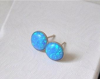 Opal Earrings,  Sterling Silver,  Opal Stud  Earrings,  Australian Opal,  Blue Earrings,  Opal Jewelry,  925 Silver,  10mm Stone, Blue Opal