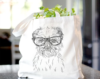 Digby the Brussels Griffon Canvas Tote Bag - Gifts For Dog Owner, Brussels Griffon, Wirehaired Brussels Griffon, Monkey Terrier