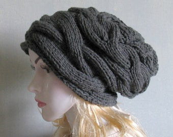 Slouchy Hat Slouchy Beanie Cable  Hand Knit Winter Women Hat slouchy hat slouch hat slouch beanie knit slouchy hat women slouchy hat slouchy