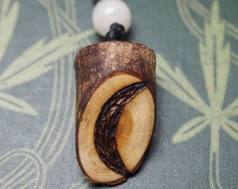 English Yew Wood Crescent Moon pendant - Dark Goddess, Crone - Wiccan, Witchcraft, Pagan