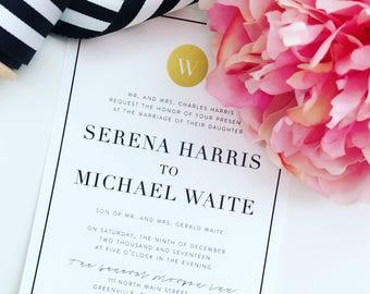 Wedding Invitation, Invitation Suite, Classic Invitations, Modern, Wedding Invite, Printable Wedding Invitation, Gold Foil, PDF, The Serena