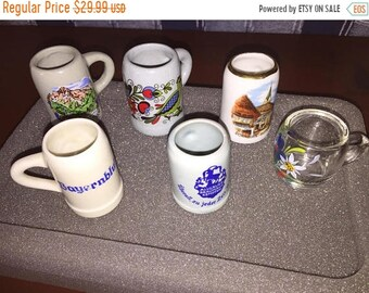 MAYniaSALE Vintage lot of 6 mini beer steins Germany Collectible set