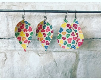 Valentines candy heart earrings