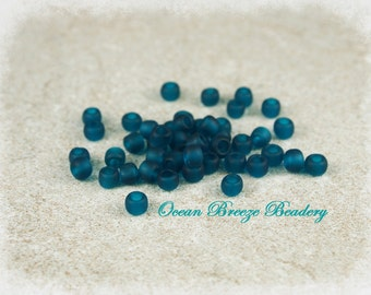 Matte Transparent Teal . 6/0 Toho Seed Bead . 20 grams