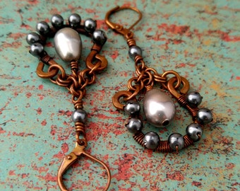 Rustic Wire-Wrapped Earrings, Silver & Charcoal Gray Pearls, Copper Earrings, Handwoven Copper Chain, Made in Colorado, Door 44 Jewelry