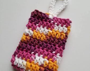 Sangria Crochet Soap Saver, SOAP COZY, Soap Pouch, Crochet Washcloth, Ready to Ship