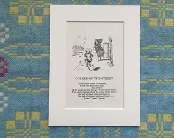 Mounted Poem and Illustration - Corner Of the Street - by A A Milne and Ernest H Shepard - Rescued from a 1940s Children's Book