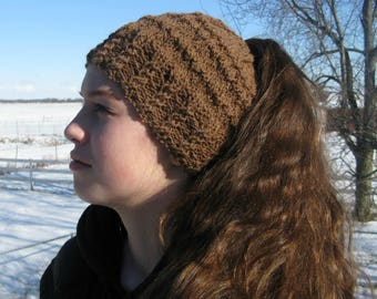 Knit Pony tail hat, Alpaca and wool winter beanie, Messy bun hat,  Brown hat