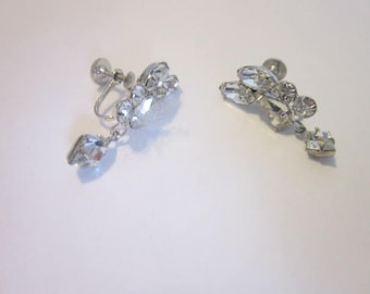 Vintage Designer Signed High Fashion Cluster White Rhinestone Earrings