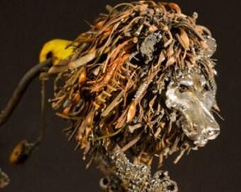 Lion sculpture, Lion art, scrap metal sculpture, Africa lion, metal sculpture, animal art, figurine, wildlife art, metal art, scrap metal ar