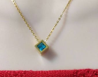 Gold chain with turquoise blue cube  pendant