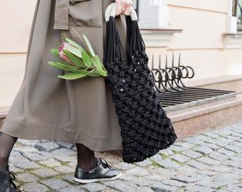 Black Macrame Bag - Market Bag - Shopping Bag - Reusable Bag - Grocery Bag - French Bag - Black Tote - Boho Bag - Eco Bag - Gift for Her