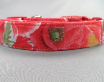 Dog Collar Pretty Red and Pink Poppy Flowers Girl Dog Collar